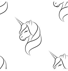 unicorn art line pattern seamless vector image