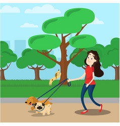 Woman walking with two dog vector