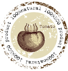 Grunge rubber stamp with tomato shape vector image vector image