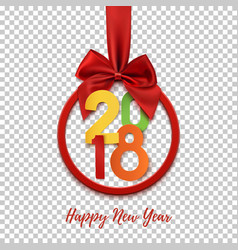 happy new year 2018 round banner with red ribbon vector image vector image
