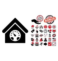 Meter Building Flat Icon with Bonus vector image vector image