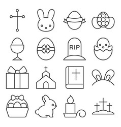 set of cute easter icon thin line vector image