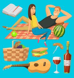 adult couple on picnic plaid barbecue outdoor vector image