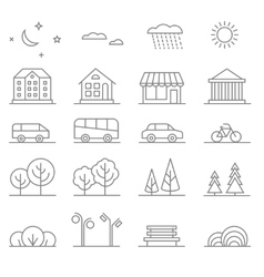 Buildings transport car and tree line vector image vector image