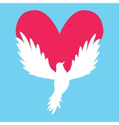 Dove Icon with Heart Shape Logo peace love vector image