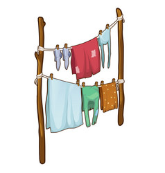 drying clothes in the fresh air in cartoon style vector image