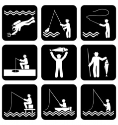 fishing icons vector image vector image