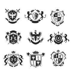 Heraldic coat of arms decorative emblems black set vector image vector image