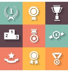 Set of white award success and victory icons with vector image