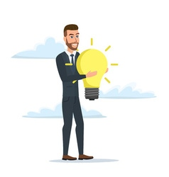 businessman holding the idea of holding a lamp vector image vector image
