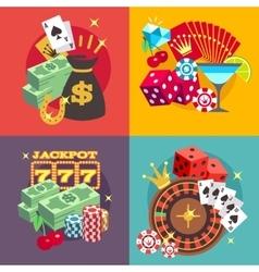 Casino gambling concept set with win money vector image
