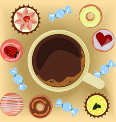 cup of coffee with donuts vector image