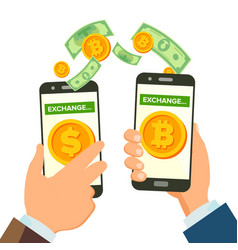 money exchange banking concept human hand vector image vector image