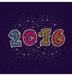 Happy new year 2016 greeting card design element vector image
