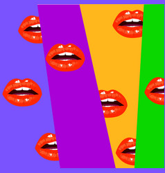 modern background with open mouth red sexy lips vector image