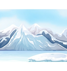 Scene with snow on big mountains and river vector