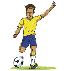 soccer football player young man kicking in vector image