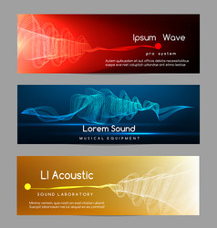 sound wave banners digital abstract vibrant vector image vector image