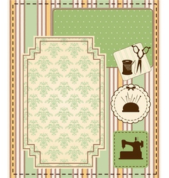 Vintage sewing elements on the background vector image vector image