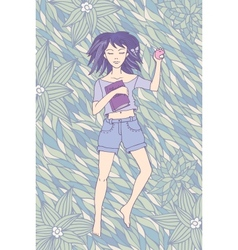 Young girl sleeping on the grass vector image vector image
