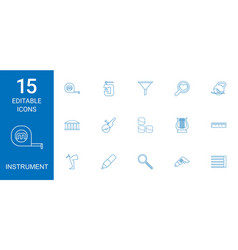 15 instrument icons vector image