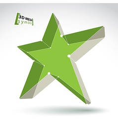 3d mesh green star sign isolated on white vector