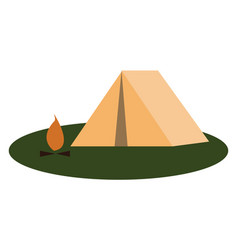 a small tent winter camping and an open-air fire vector image