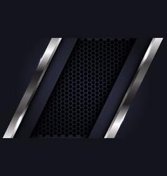 Abstract silver line dark grey on hexagon mesh vector