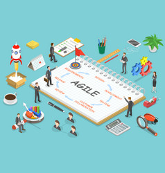Agile methodology flat isometric concept vector