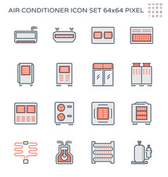 Air conditioner and compressor icon set vector