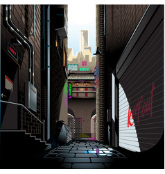 Alley in morning vector