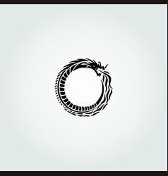 Amazingly circular black dragon vector