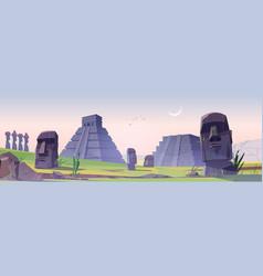 ancient mayan pyramids and moai statues landmarks vector image
