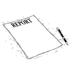 Artistic drawing of empty report document vector