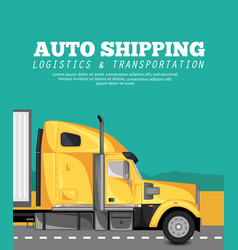 auto shipping banner with container truck vector image