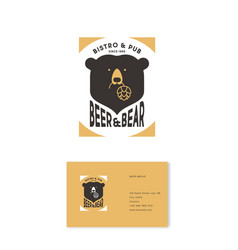 Bear and beer logo hop cones pub business card vector