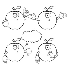 Black and white thinking apple set vector image