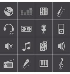 Black music icons set vector