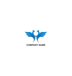 blue wing abstract company logo vector image