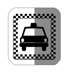 Border taxi front car icon vector