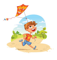 boy plays with a kite in the park vector image