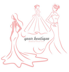 Bridal wedding gown dress boutique logo design set vector