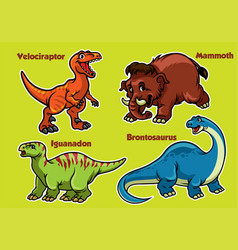 Cartoon collection of dinosaurs vector