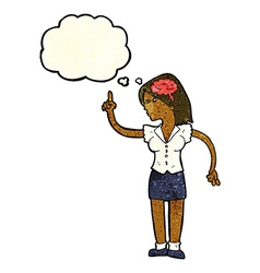 cartoon woman with clever idea with thought bubble vector image