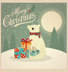 christmas card with polar bear and gift boxes vector image