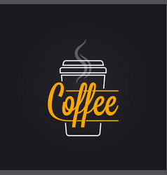 coffee cup logo take away coffee to go lettering vector image