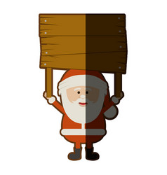 colorful silhouette of santa claus with wooden vector image