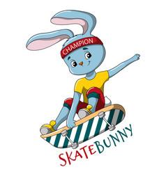 cute little skater rabbit doing a skateboard jump vector image