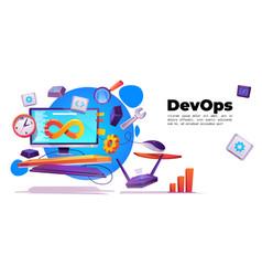Development operations banner devops concept vector