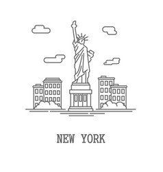 Drawing silhouette new york city vector